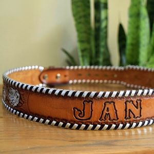 "Accessories - Vintage ""JAN"" 34 Name Belt Strap Tooled Leather"